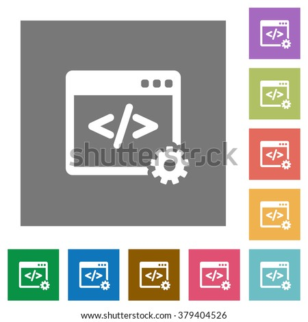 Web development flat icon set on color square background. - stock vector