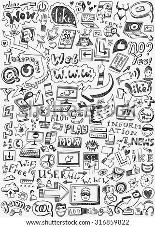 web  doodles  - stock vector
