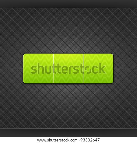 Web element. Green blank web button with glow and shadow. Satin soft smooth rounded rectangle shape on black metal background with texture. This vector illustration saved in 10 eps - stock vector