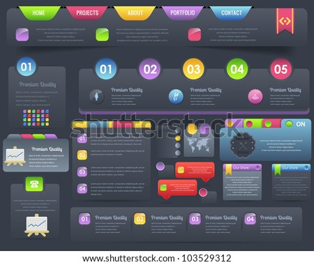 Web Elements Banner Tab Navigation Numbered Vector Design Set - stock vector
