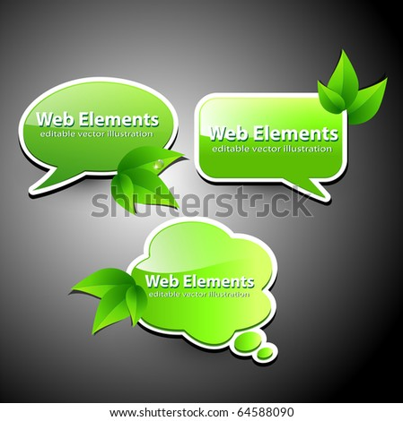 Web elements, chat bubbles with leaves, vector. - stock vector
