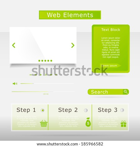 Web elements collection set. Buttons, Sliders, Media Player, Login, Switchers - stock vector