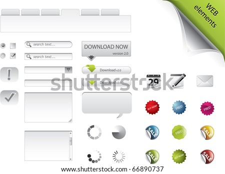 Web elements, forms, buttons and badges - stock vector