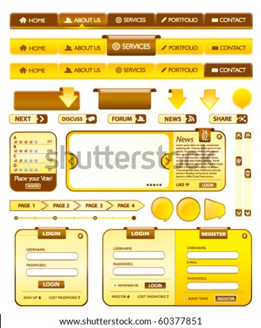 Web elements golden and brown collection - stock vector