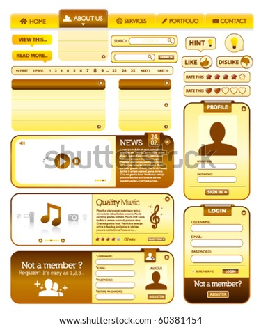 Web elements golden and brown collection 2 - stock vector