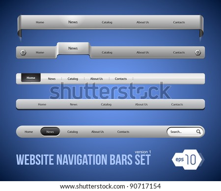 Web Elements Navigation Bar Set Version 1 - stock vector