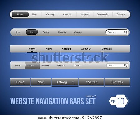 Web Elements Navigation Bar Set Version 2 - stock vector
