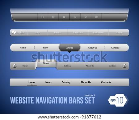 Web Elements Navigation Bar Set Version 3 - stock vector