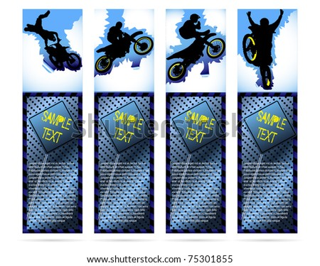Web elements on metallic background with motorcycle silhouette - stock vector