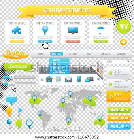 Web Elements Template, Icons, Slider, Banner and Buttons. Vector Map with Marks. - stock vector