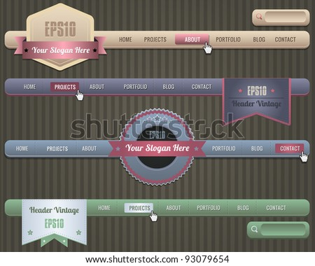 Web Elements Vector Header & Navigation Templates Set - stock vector
