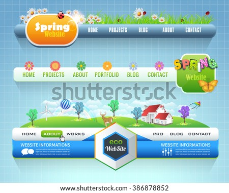 Web Elements Vector Horizontal Header Design. Navigation Templates Set Eco and Spring Theme