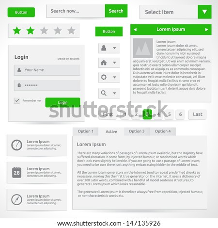 Web elements - vector template design - silver color with green | Icons search button ratings login box dropdown menu options select box slider - stock vector