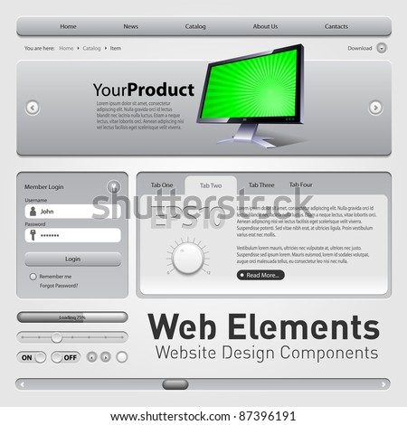 Web Elements Website Design Components Gray: Buttons, Form, Slider, Scroll, Icons, Tab, Menu, Navigation Bar, Bread crumbs - stock vector