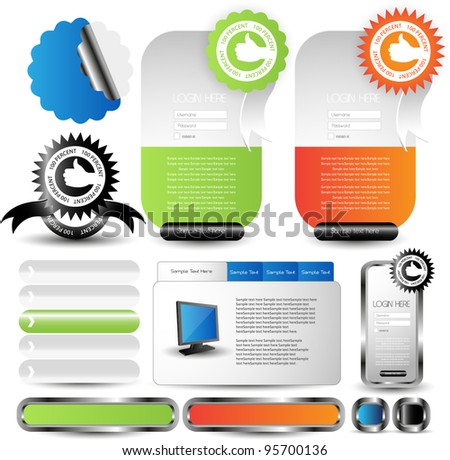 web elements with guaranteed ribbons and seals - stock vector