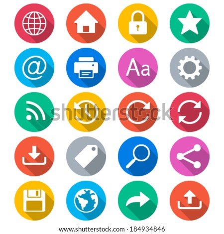 Web flat color icons - stock vector