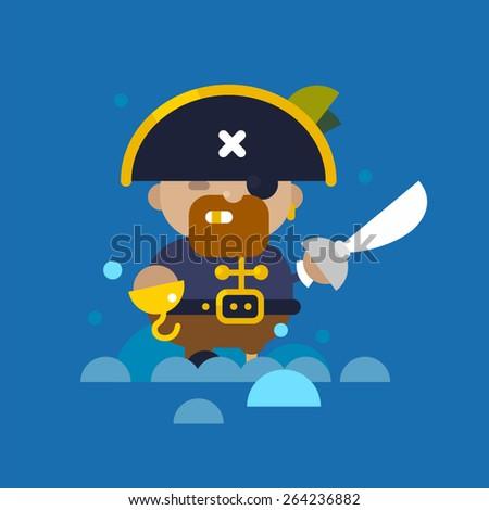 Web flat pirate illustration - stock vector