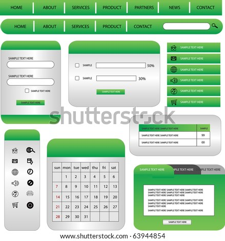 web form and buttons complete set - stock vector