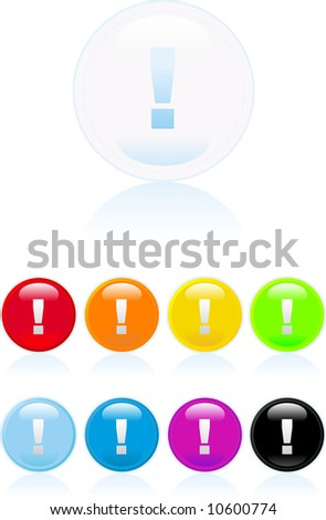 web 2.0 glossy button with exclamation mark icon - stock vector