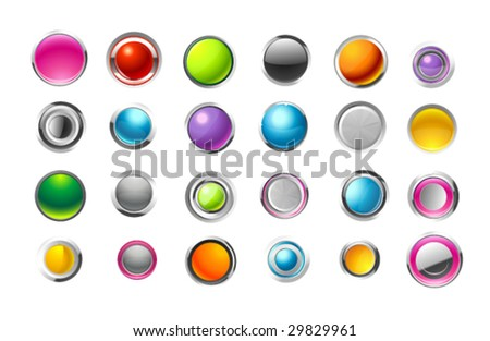 Web glossy buttons. Vector illustration. - stock vector