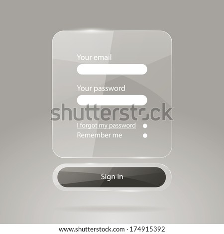 Web glossy login form page  - stock vector