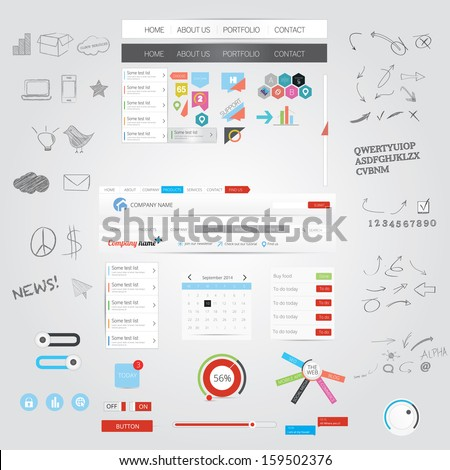Web graphics and hand drawn design elements - stock vector