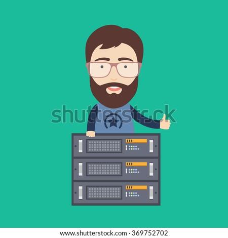 Web Hosting Administrator - stock vector