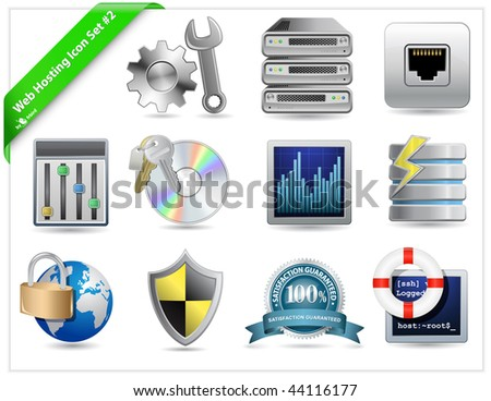 Web Hosting Icon Set - stock vector