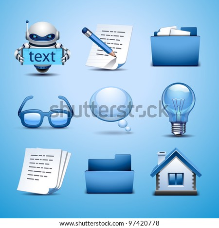web icon-blue set - stock vector