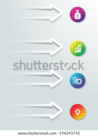 Web icon elements arrows with buttons info graphic