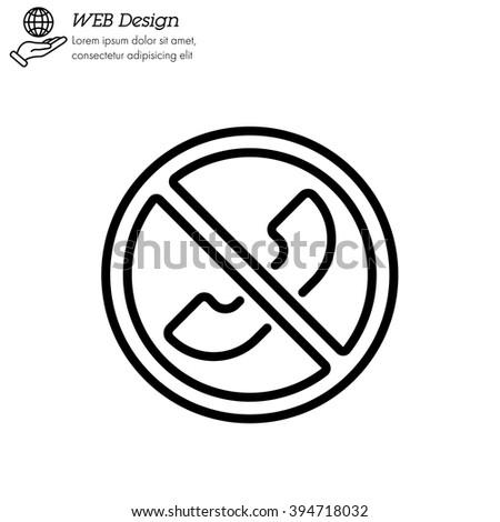 Web icon. Forbidden call, Calls banned - stock vector