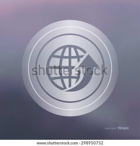Web icon on the blurred background. Globe with arrow.   Vector illustration - stock vector