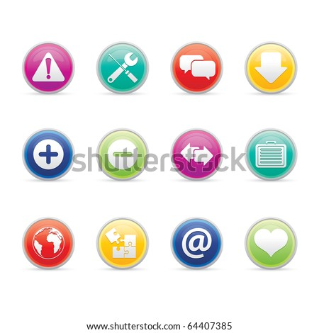 Web icon set 17 - Colored Buttons Series.  Vector EPS 8 format, easy to edit. - stock vector