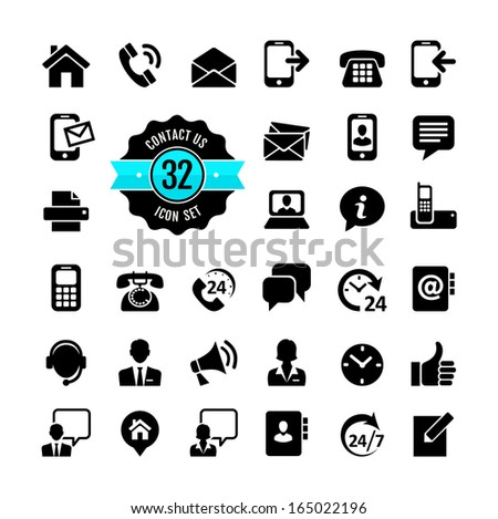 Web icon set. Contact us  - stock vector