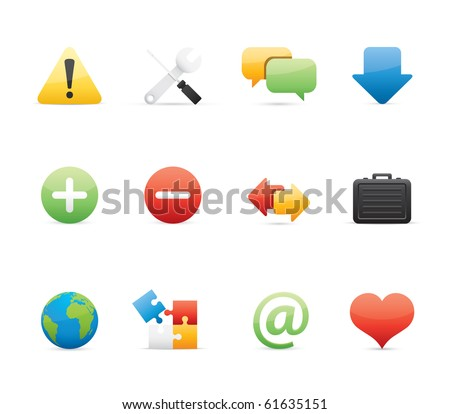 Web icon set 17 - Glossy Series.  Vector EPS 8 format, easy to edit. - stock vector