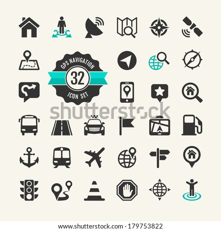 Web icon set. Location, navigation, transport, map - stock vector