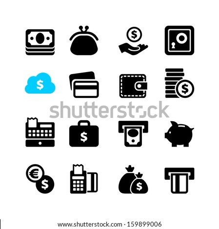 Web icon set - money, coin, card - stock vector