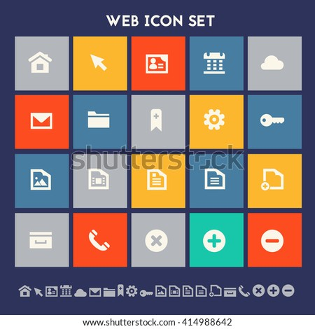 Web icon set. Multicolored square flat buttons - stock vector