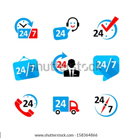 Web icon set - nonstop service, delivery, support, call center - stock vector