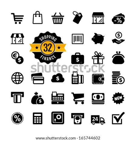 Web icon set - shopping, money, finance  - stock vector