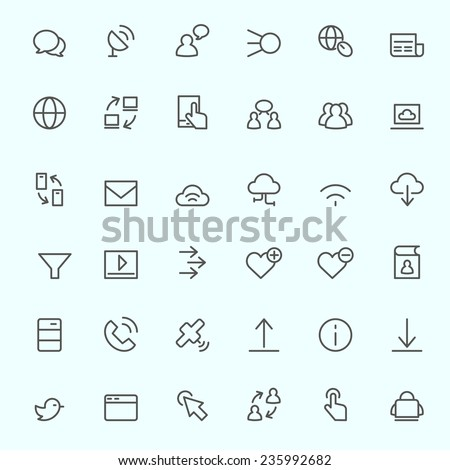 Web icon set, simple and thin line design - stock vector