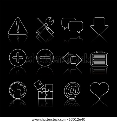 Web icon set 17 - Strokes Black Series.  Vector EPS 8 format, easy to edit. - stock vector