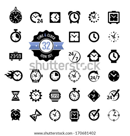 Web icon set - time, alarm, clock - stock vector