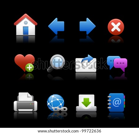 Web Icons // Black Background - stock vector