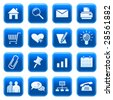 Web icons, buttons. Blue series 1 - stock vector