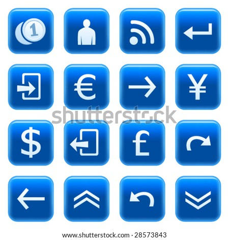 Web icons, buttons. Blue series 5