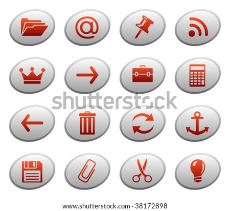 Web icons, buttons. Ellipse series 3 - stock vector