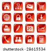 Web icons, buttons. Red series 1 - stock photo