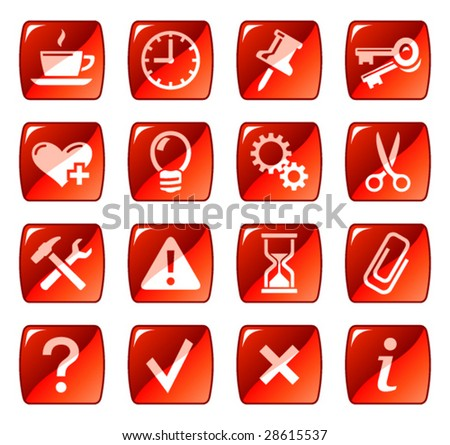 Web icons, buttons. Red series 2 - stock vector
