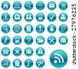 Web icons, buttons. Round series 1 - stock vector